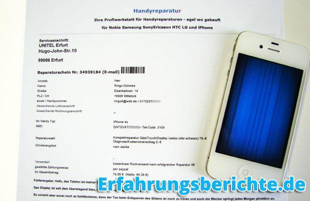 unitel2000 iPhone Reparaturschein